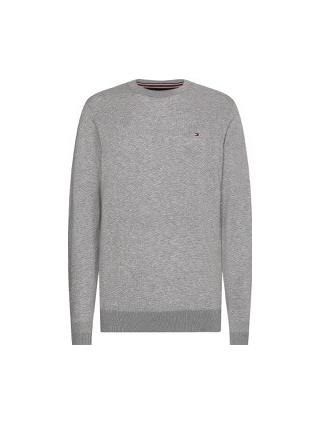 Tommy Hilfiger CORE COTTON-SILK CNECK TRÖJA, GRÅ