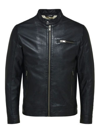 Selected Homme ICONIC CLASSIC LEATHER JACKA SVART
